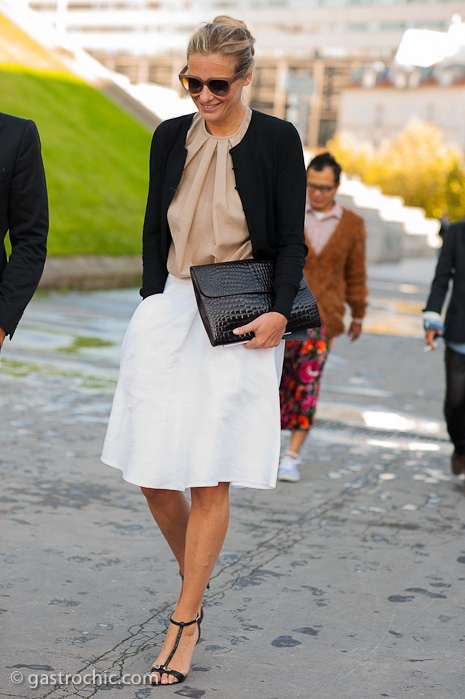 White Skirt and Leather Bag, Outside Haider Ackermann