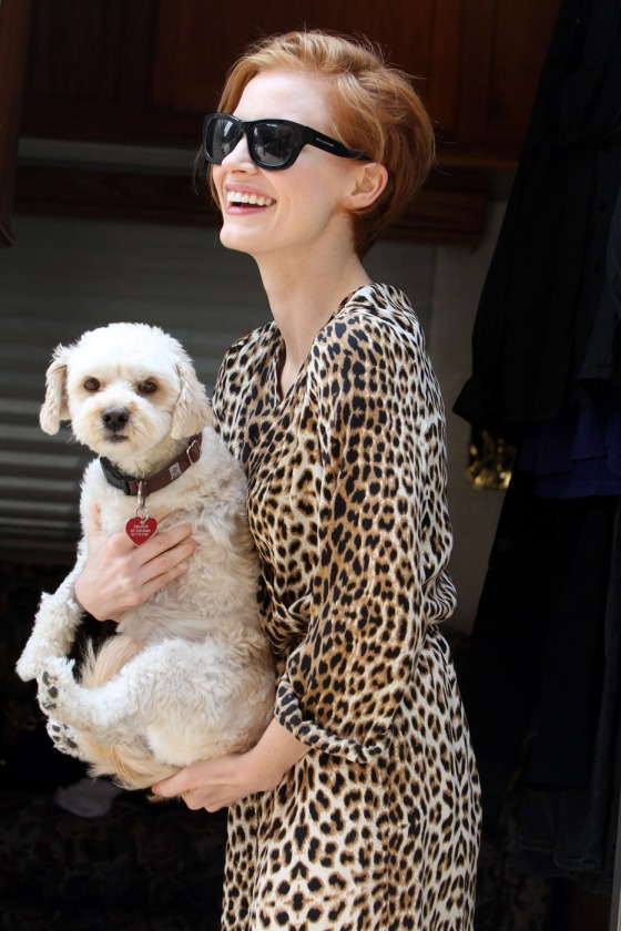 Jessica Chastain is spotted out walking her dog Chaplin in New York City