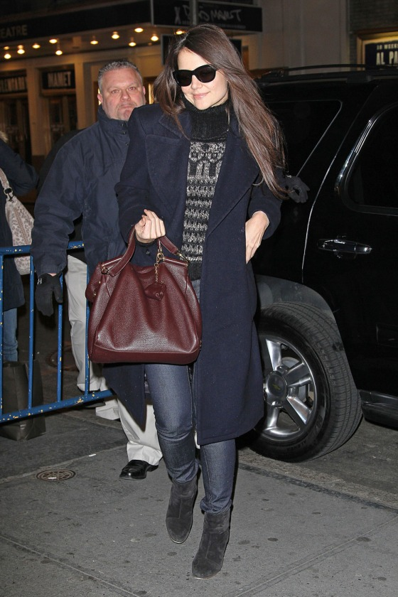 Katie Holmes arrives at the Music Box Theatre for her nightly performance of 'Dead Accounts' in New York City