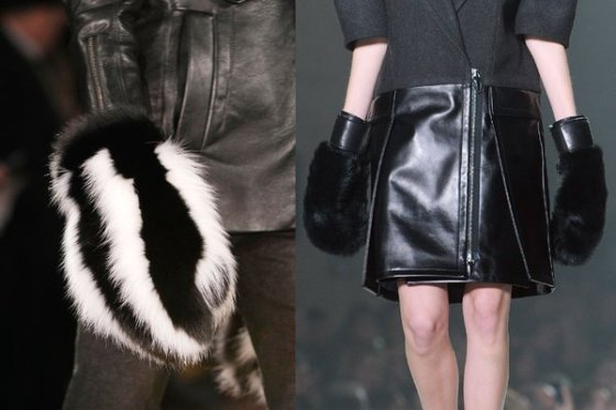 Fur Mittens at Alexander Wang and Altuzzura
