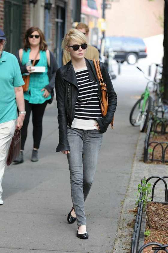 Emma Stone chic street style outfit inspiration candid fashion new york may 3 2011