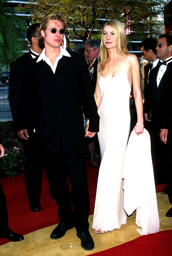 Gwyneth Paltrow in Calvin Klein in 1996 with Brad