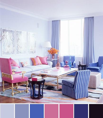 Jamie Drake Living Room Pink Purple Blue Color Palette