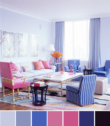 jamie drake living room pink purple blue color palette
