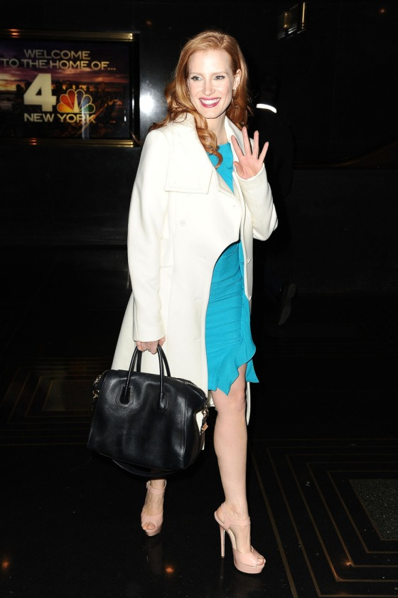 Jessica Chastain is all smiles as she heads out of 'Late Night with Jimmy Fallon' in New York City
