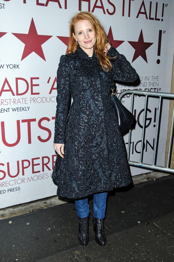 """Zero Dark Thirty"" star Jessica Chastain departs the Walter Kerr Theatre in New York"
