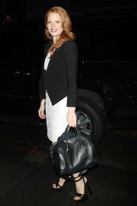 Jessica Chastain arrives for the Broadway play 'Heiress'