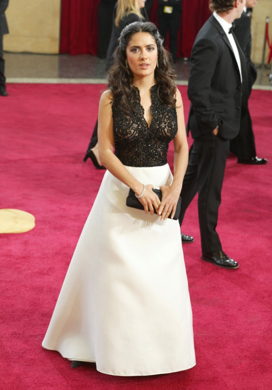 Salma Hayek in Carolina Herrera in 2003