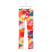 Abstract print jeans, $120