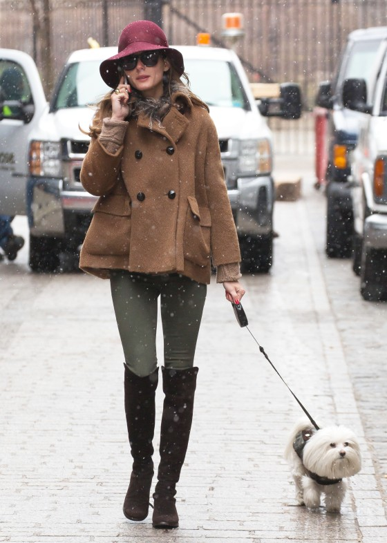 Olivia Palermo Walks Her Dog In The Snow