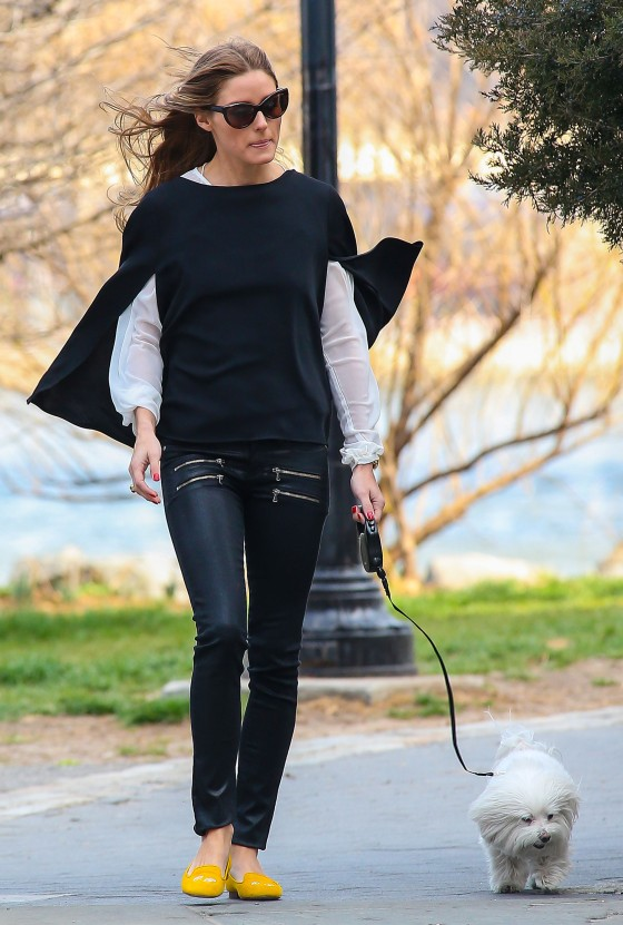 Olivia Palermo Walking Her Dog In NYC