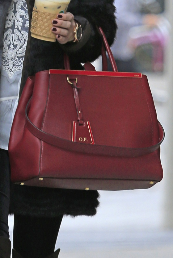 Olivia Palermo goes on an early morning coffee run,  carrying her OP designer bag, in Brooklyn
