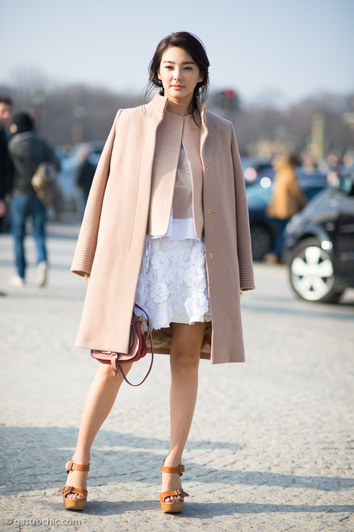 Pink Coat and Flower Applique Skirt, Outside Chloe